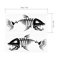 2 Pieces Skeleton Fish Decals Stickers Boat Canoe Kayak Fishing Graphics Graphics Decals