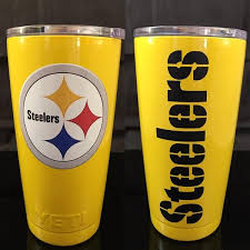 Steelers Yeti Rambler Tumblers Bottles Colters Powder Coated Yellow Gloss Pittsburgh Steelers Yeti Rambler Tumblers Rambler Tumbler Pittsburgh Steelers
