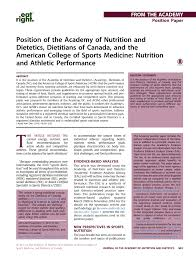 position of the academy of nutrition