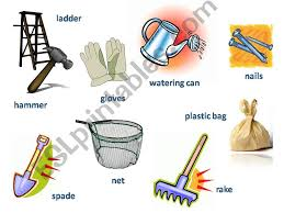 esl english powerpoints gardening tools