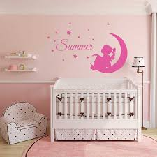 Custom Girl Name Wall Decal Fairy On Moon Mural Removable Vinyl Stars And Bird Stickers Kids Nursery Bedroom Wall Decor Sale Up To 70 Stickersmegastore Com