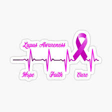 Purple Ribbon Lupus Awareness Month In May We Wear Purple For Lupus Fighter Sticker By Bullish Bear Redbubble