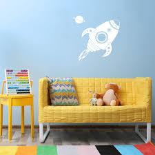 Amazon Com Vinyl Wall Art Decal Spaceship Rocket Planet 22 X 22 Trendy Motivational Cute Space Design Sticker For Home Bedroom Kids Room Playroom Nursery Daycare School Classroom Decor