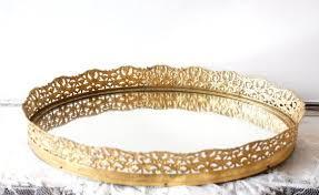 gold filigree vanity mirror tray