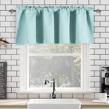Amazon Com Sea Aqua Bedroom Valance For 18 Inch Short Window Valance For Kids Room Kitchen Bathroom Rod Pocket Curtain Valance 52wx18l Kitchen Dining