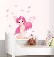 Girls Room Decoration Cartoon Pink Flower Fairy Wall Stickers Removable Vinyl Child Bedside Wall Decal Baby Murals Fashion Fairy Wall Stickers Wall Stickerwall Decals Aliexpress