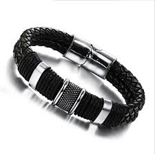 3 size mens leather braided bracelet