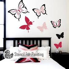 Set Of 6 Butterfly Stencils Girls Bedroom Children S Etsy