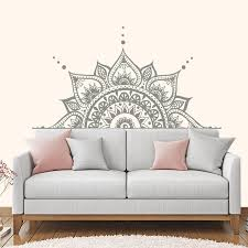 Headboard Decor Lotus Flower Mandala Decal Half Mandala Wall Etsy