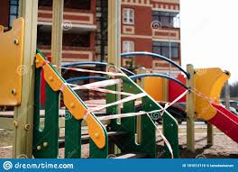 An Empty Playground For Children In The Yard Fenced Territory Coronavirus Stock Photo Image Of Exercise Infection 181613110