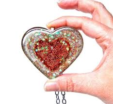 big heart pendant huge glitter resin