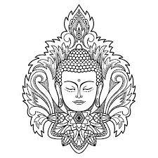 Zittend Overzicht Gouden Boeddha In Lotus Positie Op Mandala Ronde