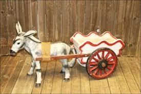 vtg concrete donkey wagon statue