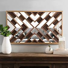 dark wood and mirror planks wall plaque