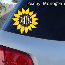 Sunflower Monogram Car Window Decal From Jen S Vinyl Decals