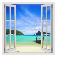 Tropical Caribbean Beach Window 3d Wall Decal Art Mural Decor Canvas Vinyl W133 Ebay