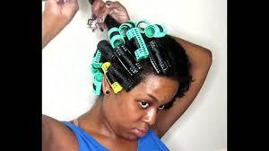 roller set on short um natural hair