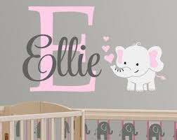 Elephant Custom Name Personalized Initial Wall Decal Sticker For Nursery Girl S Room Or Playroom Nur Nursery Monogram Baby Girl Nursery Room Baby Girl Room