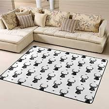 Amazon Com Soft Large Area Rug Deer Office Floor Mats For Carpet Monochrome Animal Silhouettes And Triangles Ornamental Pattern Nature Illustration Rug For Living Room Kids Room Bedroom Black White 5 X8 Kitchen Dining