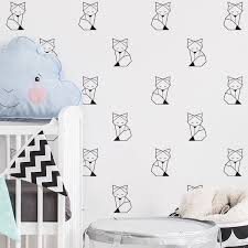 Buy 6pcs Self Adhesive Wall Stickers Simple Nordic Style Cartoon Fox Kids Room Wall Decals Wall Stickers At Jolly Ch