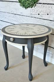 old world clock face table with an