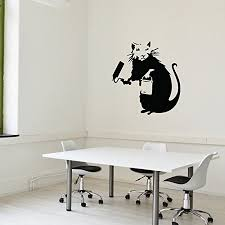 Painting Rat Banksy Wall Decal Wall Sticker Vinyl Wall Art Wall Applique Home Decor Mural B1003 46in X 46in Green Walmart Com