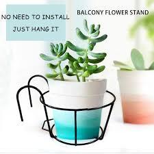 Fm Outdoor Hanging Plant Iron Racks Fence Balcony Round Flower Pot Garden Supplies Shopee Philippines