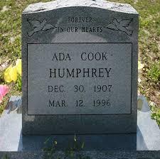 Ada Cook Humphrey Gravestone, Mt Pleasant Cemetery