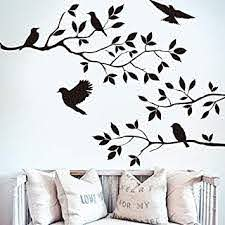 Amazon Com Black Birds On Tree Branch Tree Wall Sticker For Kids Bady Room Carved Wallpaper Living Room Bedroom Decoration Vinyl Wall Decal Baby