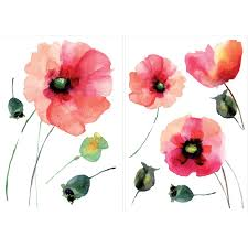 August Grove Watercolor Poppies Wall Decal Reviews Wayfair