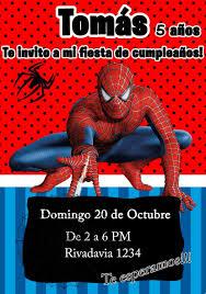 Tarjeta Invitacion Hombre Arana Spiderman Digital Cumpleanos