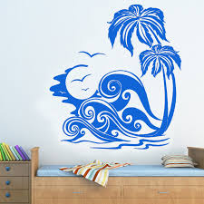 Sea Waves And Palm Trees Beach Wall Sticker Removable Home Decor Wall Art Murals Living Room Bedroom Decoration Wall Stickers Aliexpress