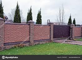 Brown Brick Fence Gate Snow Blizzard Stock Photo C Anatolx 275323972