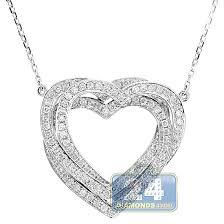 heart pendant necklace 14k white gold