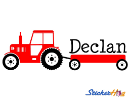 Boys Tractor Name Monogram Decal Nursery Wall Decal Graphics Boys Baby Name Sticker