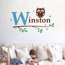 Free Shipping 82x60cm Kids Boy Name Owl Wall Decal Sticker Custom Name Owl Tree Vinyl Stickers Baby Boy Bedroom Decoration Kids Bedroom Bajby Com Is The Leading Kids Clothes Toddlers