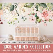 Rose Garden Emma Wall Decal Pink White Peonies Roses Wall Etsy
