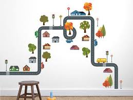 Wall Decal Set Small Town Quality Vinyl Wall Sticker For Kids Room Nursery Vinyl Sticker Cars Trees Roads Construction Wall Decal City Wall Stickers Kids Nursery Vinyl Vinyl Wall Stickers