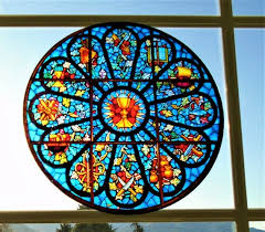 Stained Glass Rose Window Cling Suncatcher Etsy