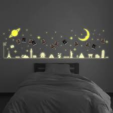 Zoomie Kids Travel Around The World Glow Moon And Stars Wall Decal Wayfair