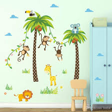 Giraffe Lion Monkey Palm Tree Forest Animals Wall Stickers For Kids Room Children Bedroom Wall Decals Nursery Decor Poster Mural Decal Wall Stickers Decal Walls From Lotlot 3 1 Dhgate Com
