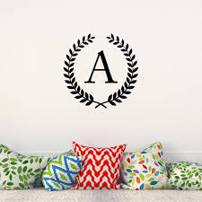 Wheat Wreath Initial Wall Decal Personalized Monogram Laurel Etsy