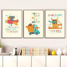 Cartoon Dinosaur Bear Car Airplane Truck Ship Nordic Posters And Prints Wall Art Canvas Painting Wall Pictures Kids Room Decor Picture For Living Room Wall Picturescanvas Art Aliexpress