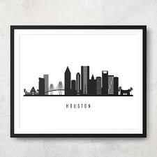 Houston Skyline Printable Houston Black White Wall Art Etsy