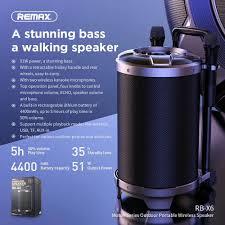 Loa kéo + xách Bluetooth Remax RB-X6 kèm 2 mic hát karaoke