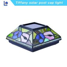 stained glass solar post cap light
