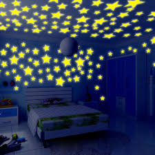 Amazon Com Zeshlla 100pc Kids Bedroom Fluorescent Glow In The Dark Stars Wall Stickers Glow In The Dark Stars More Realistic Looking Than Typical Glow In The Dark Stickers Baby