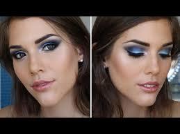 prom makeup tutorial blue smokey eyes