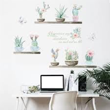 3d Pastoral Fresh Plant Cactus Wall Stickers Gallery Wallrus Free Worldwide Shipping