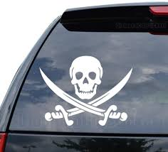 Amazon Com Jolly Roger Pirate Skull Swords Decal Sticker Car Truck Motorcycle Window Ipad Laptop Wall Decor Size 18 Inch 46 Cm Wide Color Matte Black Home Kitchen